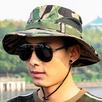 Tactical US Army Camouflage Bucket Hat Men Camo Wide-brim Snapback Boonie Hat Summer Breathable Sniper Soldier Paintball Cap Hat