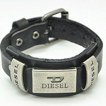 Real Black Leather DIESEL Bracelet Women's Leather Bangle Bracelet, Men's Leather Cuff Bracelet, Unisex Leather Bracelet  SZ0060