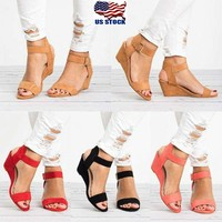 Roman Womens Wedge Sandals Low Heels Ankle Strap Buckle Gladaitor Shoes Size 5-9