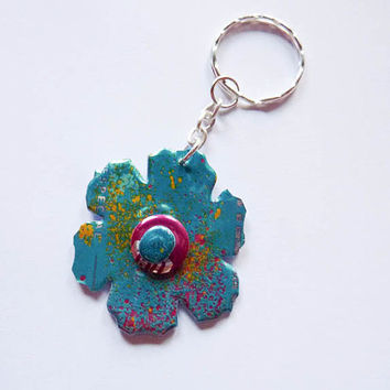 Flower Soda can Key Chain Made  - woman key ring - girl key chain - Recycled Upclyed Soda Can - Clip for Backpack - unique gift for her