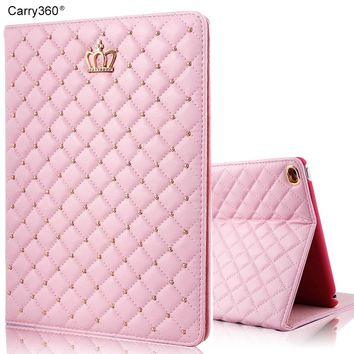 Case for iPad 2017 9.7 inch, Carry360 Brand New Fashion Luxury Crown Bling PU Leather Stand Smart Cover for Girls Women