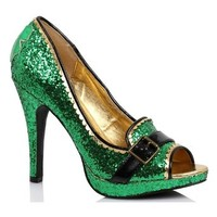 St. Patricks Pattys Day Green Sparkle Adult Womens High Heels Shoes