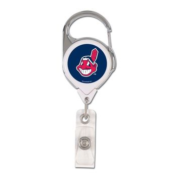 CLEVELAND INDIANS CHIEF WAHOO LOGO METAL RETRACTABLE ID BADGE HOLDER KEY CHAIN