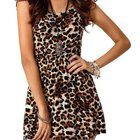 Leopard Print Sleeveless Mini Dress