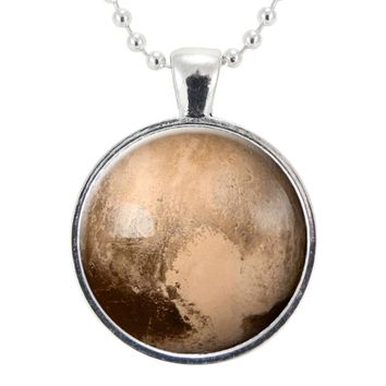 Pluto Love Heart Necklace, Science Gifts For Women, Galaxy Planet Jewelry, Solar System Pendant