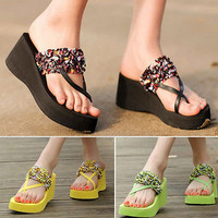 2017 Fashion Women's Summer Flip Flops High Heel Slippers Platform Wedge Sandals
