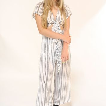 White and Black Striped Front Tie Jumpsuit