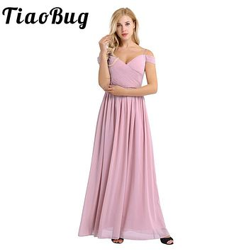 Women Lady Chiffon Off The Shoulder Pleated Deep V Neck Long Bridesmaid Dress Prom Gown Women Gorgeous Long Wedding Party Dress
