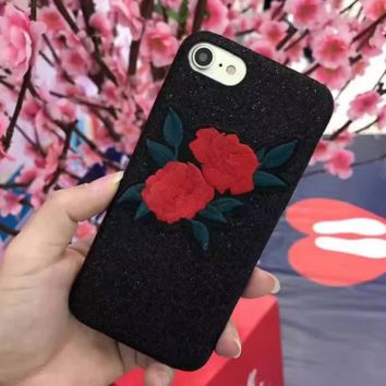 Flash acne embroidered flowers iPhone 7 7Plus & iPhone 6 6s Plus Case + Gift Box