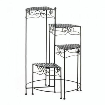 Black 4-tier Metal Plant Stand (pack of 1 EA)