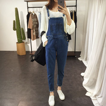 2017 Spring Boyfriend Denim Overalls For Women Rompers Womens Jumpsuit Ripped Plus Size Jeans Woman Casual Retro Salopette Femme