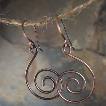 Spiral Earrings Wire Spiral Copper Spiral Copper Earrings Spiral Swirl Earrings Geometric Shape Alexander Calder Handcrafted Antiqued Copper