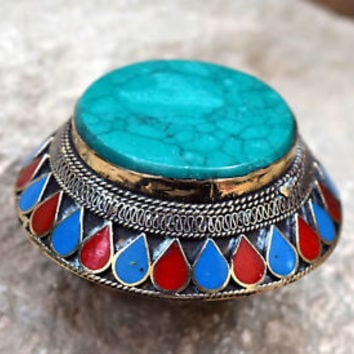 Big Turquoise Kuchi Ring Afghan Tribal Jewelry Carved Gypsy Ethnic Bohemian Boho