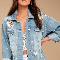 Free People Sunday Funday Blue Oversized Pearl Denim Jacket