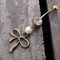Golden Bow & Pearl Belly Button Jewelry Ring