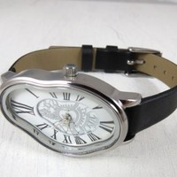 Silver Ladies Watch Inspired By Salvador Dali - Women Wrist Watch - Leather Watch - Women's Watches
