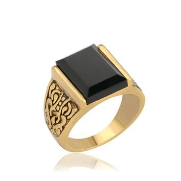 Classic Men Ring Hot Sale Vintage Retro Antique Silver Plated Carved Yonago Design Square Black AAA Resin Stone Ring Jewel 31030