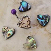 Abalone Heart Belly Button Ring Jewelry