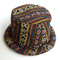 Hat for men women, Colorful Funky style Bucket hat, Hipster Hippie hat, Boho Bohemian hat,  Pork Pie Trilby, Perfect Gift idea