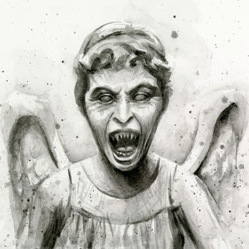 Weeping Angel Watercolor | Don't Blink! Art Print by Olechka