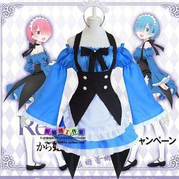 Re: Life in a Different World from Zero Rem Ram Cosplay Costume Woman Girl Blue Maid Apron Dress Halloween Lolita Dress 1 order