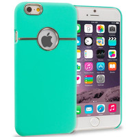 Teal Deluxe Chrome Hard Rubberized Back Cover Case for Apple iPhone 6 6S (4.7)