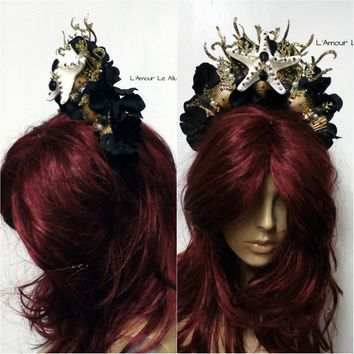 Black and Gold Siren Shell Tiara Mermaid Crown