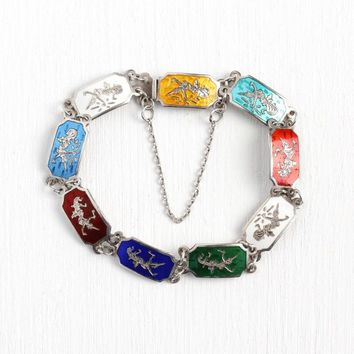 Siam Enamel Bracelet - Vintage Siamese Sterling Silver Rainbow Panel Statement - Thailand Colorful Red, Blue, White, Yellow 1960s Jewelry