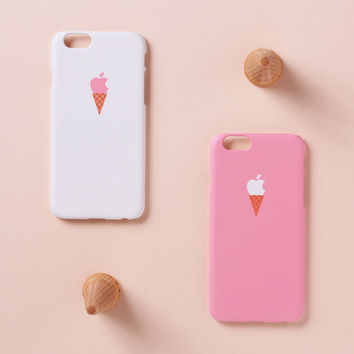 iPhone 6 Plus case - pink ice cream case - iPhone 6 case, iPhone 6 Plus case, iPhone 5s case, w/ Good Luck Gold Sticker, non-glossy L02