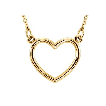 Polished 13mm Heart Necklace in 14k Yellow Gold, 16 Inch