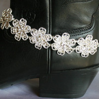 Sparkling Cowgirl Statement Boot Bracelet, Rhinestone Silver Flower Bridal Choker, Country Western Boot Bling Statement, Cowgirl Jewelry
