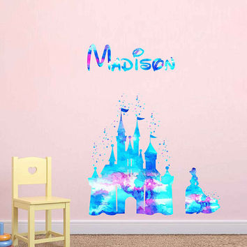 kcik1976 Full Color Wall decal Watercolor Character Disney Cinderella Sticker Disney Girl name personalized Child's name