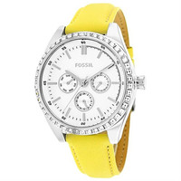 FOSSIL Women's Watch Carissa Yellow Leather Quartz Watch with Crystal Accent