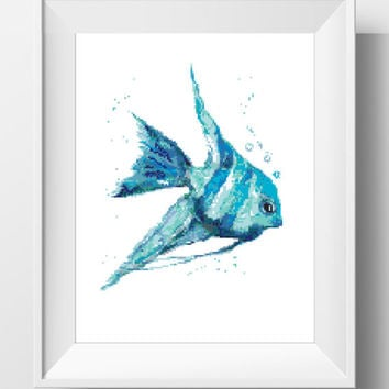 cross stitch pattern chart modern animal watercolor fish gift for mom wall decor counted cross stitch printable embroidery Art watercolour