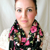 Floral print Infinity Scarf, Cute Women's fashion scarf, loop scarf, girft for her