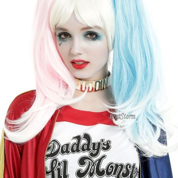 Licensed cool Suicide Squad Harley Quinn Blonde Wig w/ Clip On Pink Blue Pony Tails Cosplay