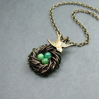Amazonite Bird Nest Necklace with Swallow in by RoseAndRaven