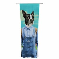"Natt ""Family Portrait N3"" Blue Dog Decorative Sheer Curtain"
