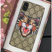 GUCCI  leather print   iPhone 7plus 8P X shell Bossy leopard