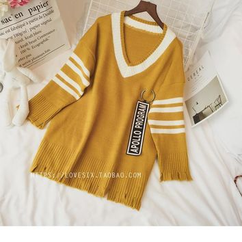 Striped Long Sleeves V-neck Pullover Sweater