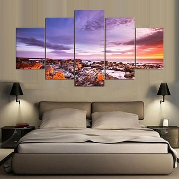 Canvas Oil Painting Cuadros Home Decor 5 Panel Beautiful Landscape Wall Art Pictures Painting For Living Room Prints PENGDA