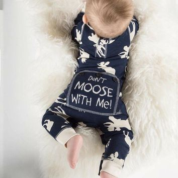 Don't Moose With Me Baby Kids Cute Rompers Toddler Infant Baby Girl Boy Moose Romper Jumpsuit Pajamas Outfits Clothes