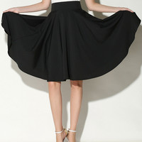 Black High Waist A-Line Midi Skater Skirt