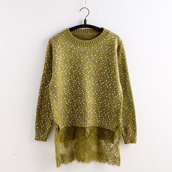 Lace Hem Splicing Paint Point Pullover Sweater