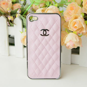 Baby Pink Leather case with Metal CC Chanel for iPhone Case, white leather iPhone 4 4S cases Chanel iPhone cases