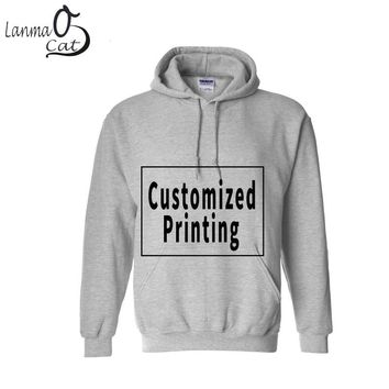 Lanmaocat Male Custom Design Hoodie Custom Printing Long Sleeve Clothes with Pocket Men Shirts Hoodie Sweatshirts Free Shipping
