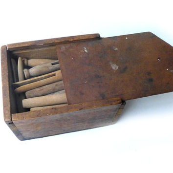 Vintage Mid century rustic wood box of wooden clothes pegs