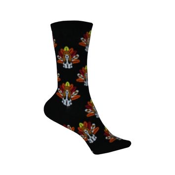 Turkey Dog Crew Socks in Black