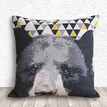 Pillow Cover, Pillow Case, Cushion Cover, Bear Pillow Cover 18x18 - Bear Geometric - 159