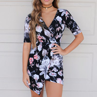 Too Good To Be True Black Floral Wrap Dress